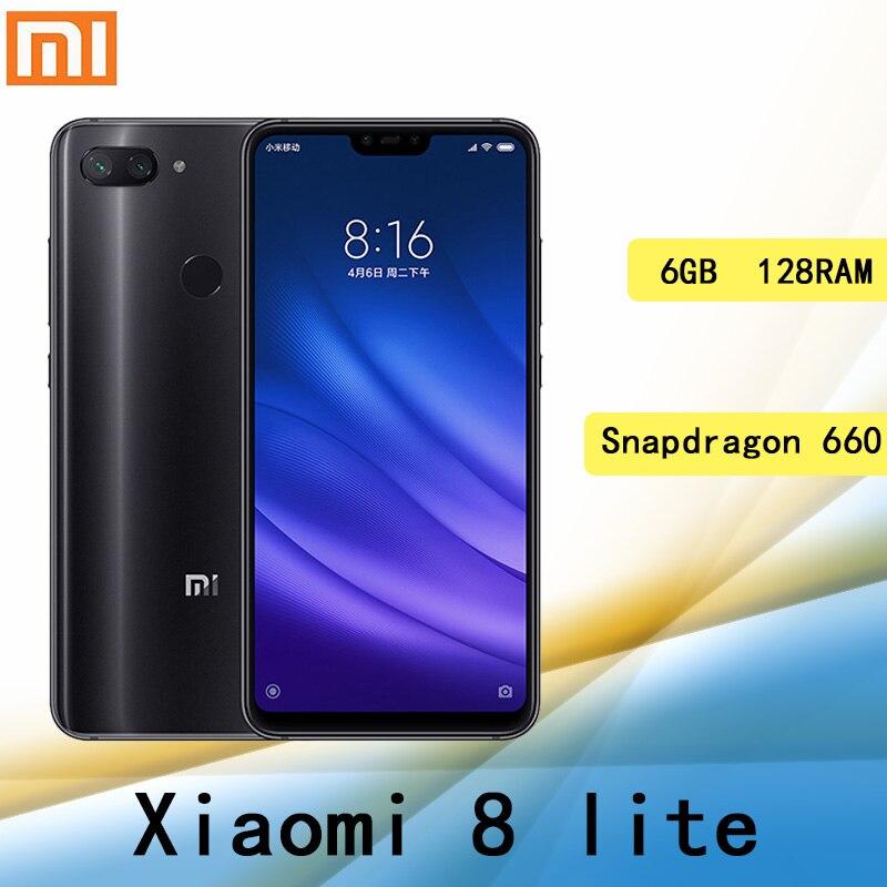 Сотовый телефон xiaomi 8 lite, 6 ГБ 128 ГБ, Snapdragon 660AIE, 2280*1080, сканер отпечатка пальца, быстрая зарядка, 18 Вт глобальная версия
