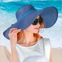 simple summer straw hat women big wide brim beach hat sun hat foldable sun block uv protection panama hat bone chapeu feminino