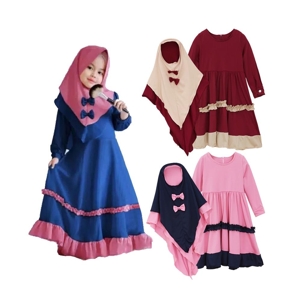 Niños Abaya para niñas musulmán Bowknot vestido Hijab conjunto de Abaya islámico ropa turco Kaftan árabe de dos piezas Robe Prayer Garment