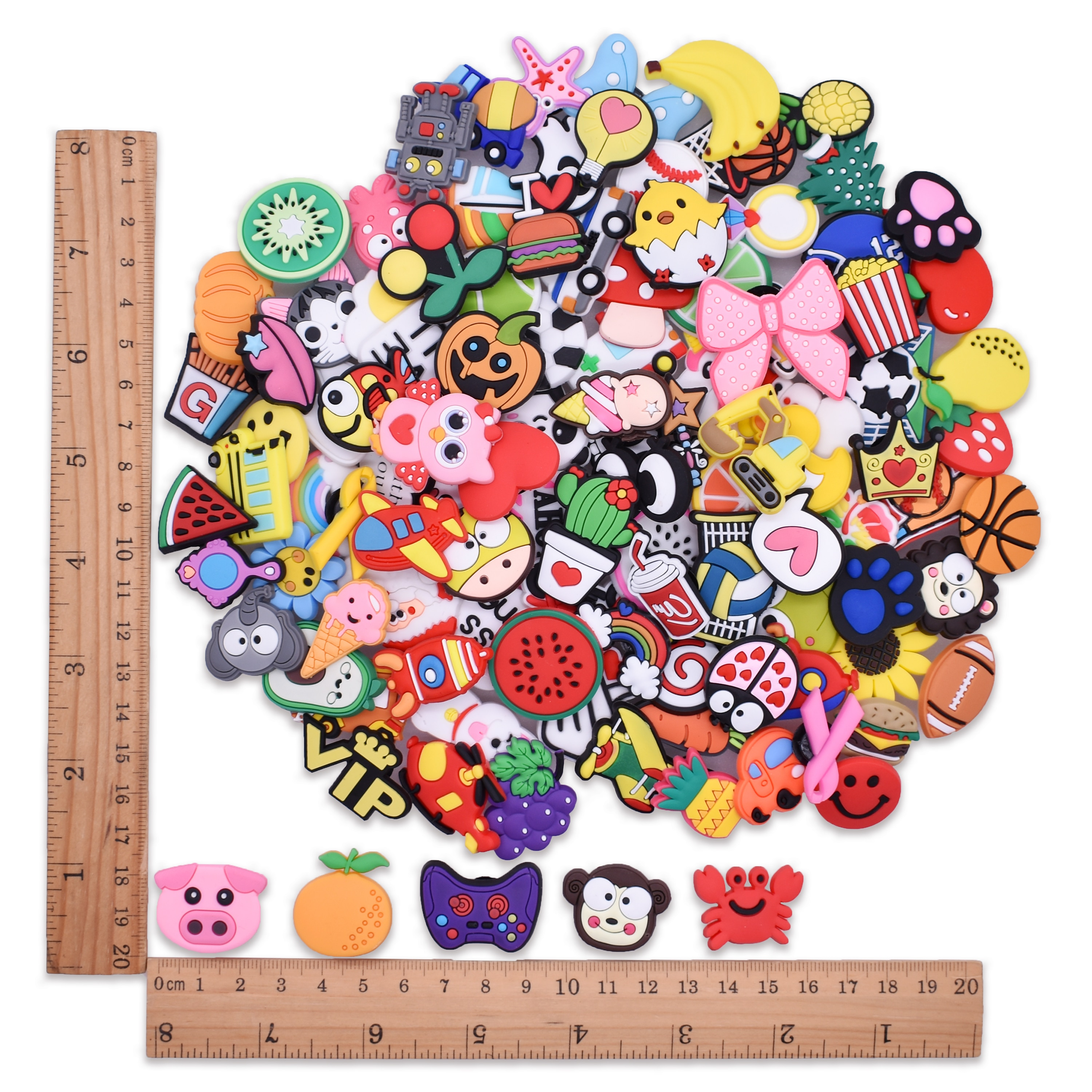 40-150PCS Ranom Cartoon Animal Shoes Charms Flower Pig Letter Decoration Fit Croc Wristband Accessories Kids X-MAS Gifts
