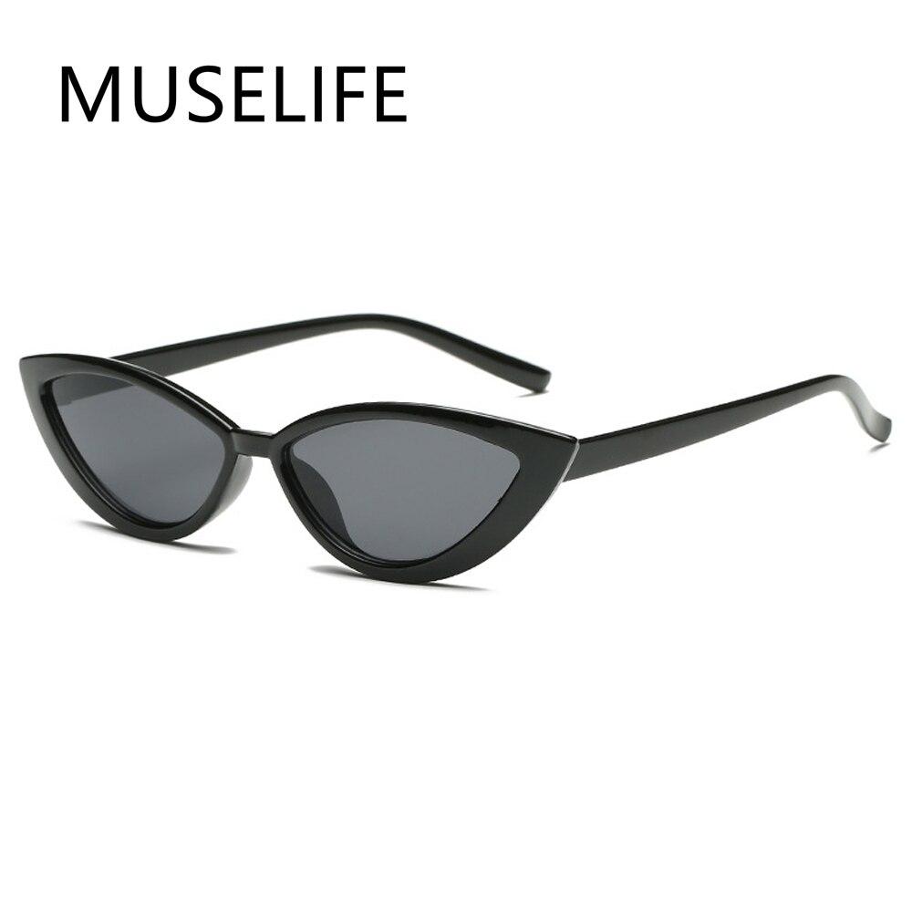 Солнечные очки MUSELIFE кошачий глаз женские, винтажные модные брендовые дизайнерские зеркальные солнечные очки в маленькой оправе, черные