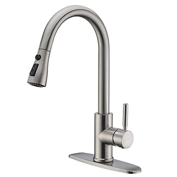 QUEEXU Single Handle High Arc Brushed Nickel Pull Out Kitchen Faucet,Single Level Stainless Steel Kitchen Sink Faucets QU13
