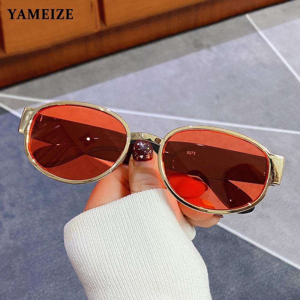 Овальные Солнцезащитные очки YAMEIZE в стиле ретро, женские круглые солнцезащитные очки из металла, женские винтажные круглые солнцезащитные ...