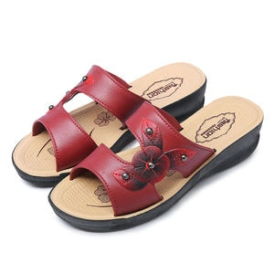 Women Shoes Slippers Middle-aged Mom Shoes Slides Soft Bottom wedges Non-Slip Slanted Heel Middle-aged PVC