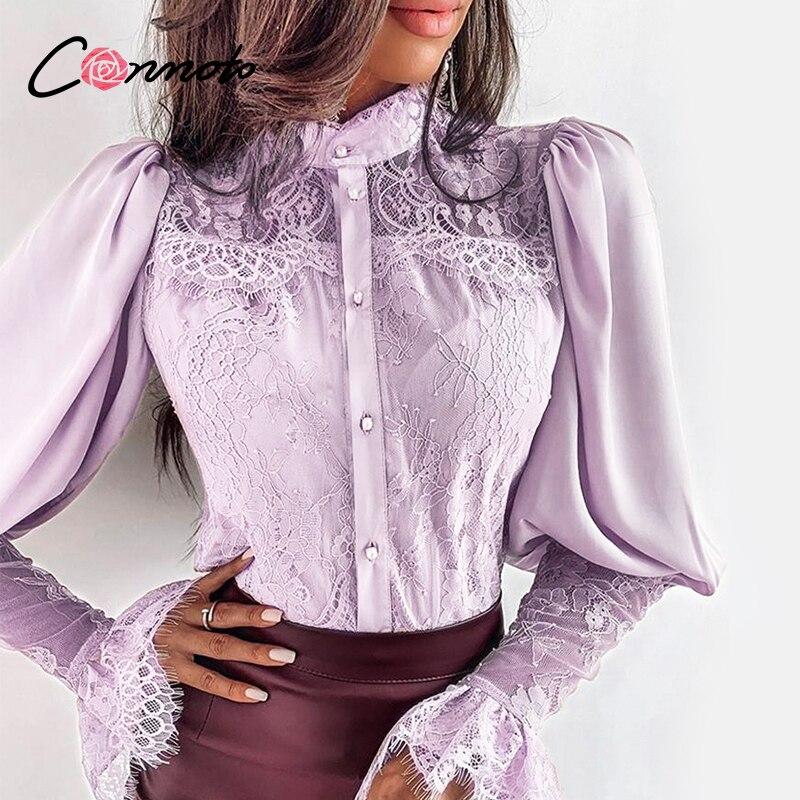 Blusa de mujer sexy de club de encaje Conmoto pachowork camisa casual ahuecada más blusa sólida camisa púrpura verano blusas mujer