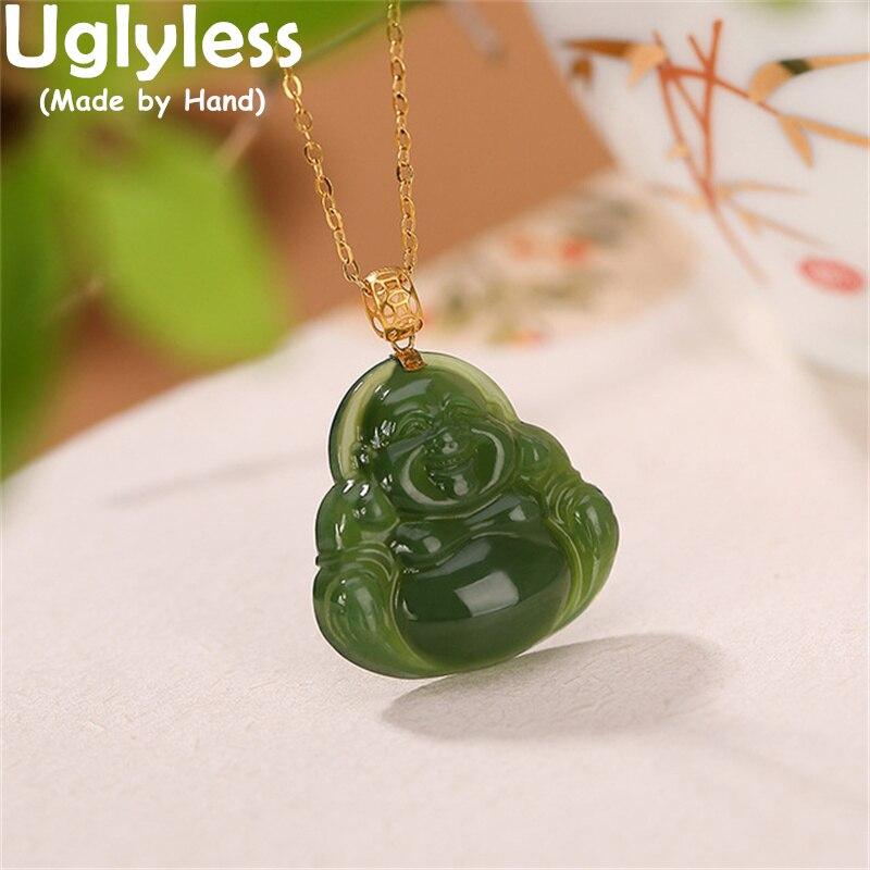 uglyless-18k-gold-maitreya-подвески-Будды-для-женщин-натуральная-яшма-ожерелье-Будда-Настоящая-золотая-бижутерия-буддизм-au750-без-цепи