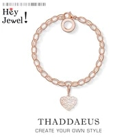 link chain charm heart ornament bracelets2020 summer rose gold color gift for womeneurope style fashion jewelry acessories