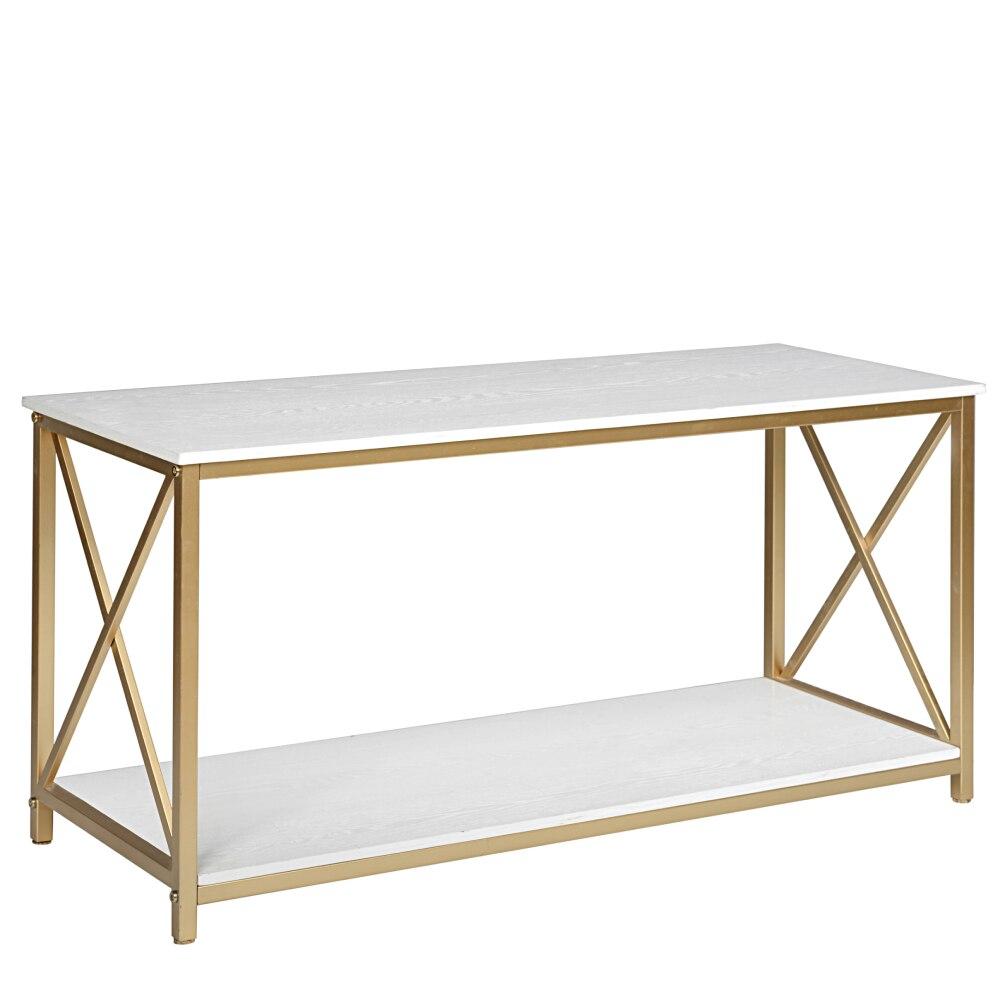 2-Tier طاولة وحدة التحكم دخول الجانب أريكة طاولة القهوة مع فو قرص من الرخام للمنضدة و إطار معدني ذهبي للمنزل 42