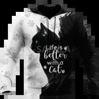 beautiful black cat animal 3d print size 110 6xl hoodie man women harajuku outwear zipper pullover sweatshirt casual unisex