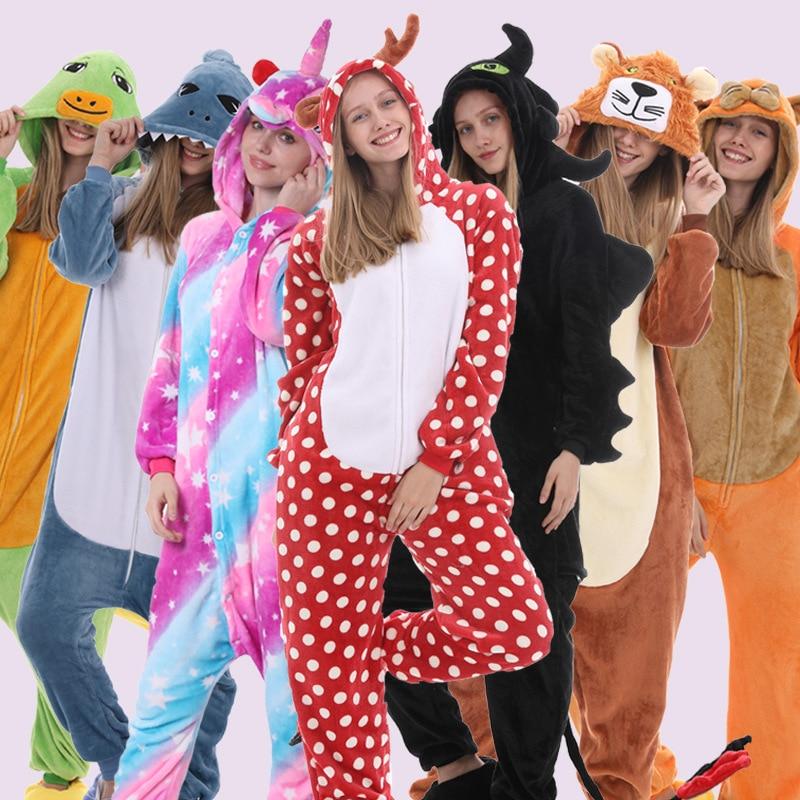 Pijama con capucha cálido onsie kingumi Mono para mujer ropa de dormir Cosplay Stitch Pikachu unicornio ropa de dormir Unisex par pijama de franela