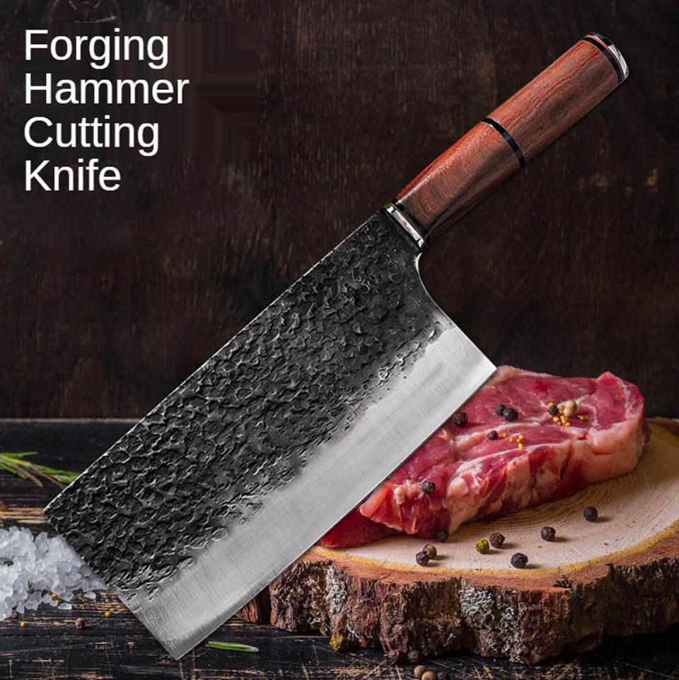 سكين المطبخ دمشق نمط الليزر سكين اللحوم الصينية سكين الطاهي مزورة الفولاذ المقاوم للصدأ اللحوم الساطور