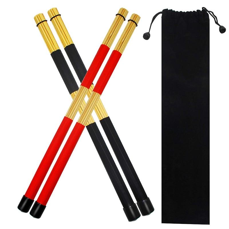 2 pares de pinceles para baquetas, varillas calientes, baquetas prácticas para baquetas de Rute Jazz para baquetas expertas para crear un nuevo sonido de tambor