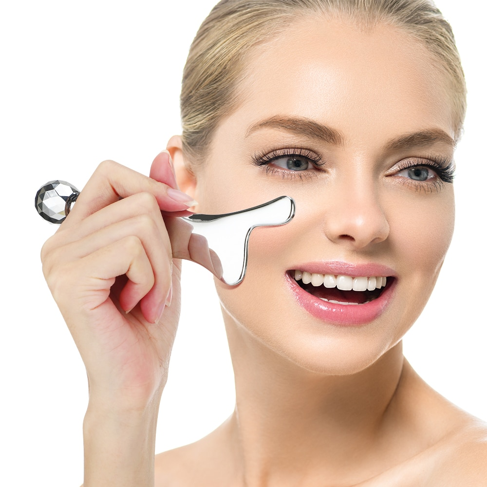 Stainless Steel Hand Massager Facial Scraping Massage Tool Press Point Metal Gua Sha Scraper Pain Relief Body Relaxation Tool