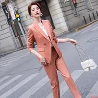 2020 striped formal suit pant suits formal pantsuit womens tops and blouses pants suits elegant work wear office ladies jacket