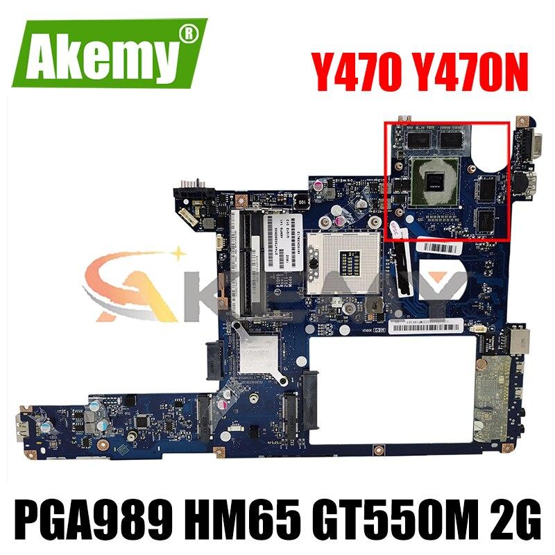 Akemy PIQY0 LA-6881P اللوحة لينوفو Y470 Y470N اللوحة المحمول PGA989 HM65 GT550M 2G DDR3 100% اختبار العمل