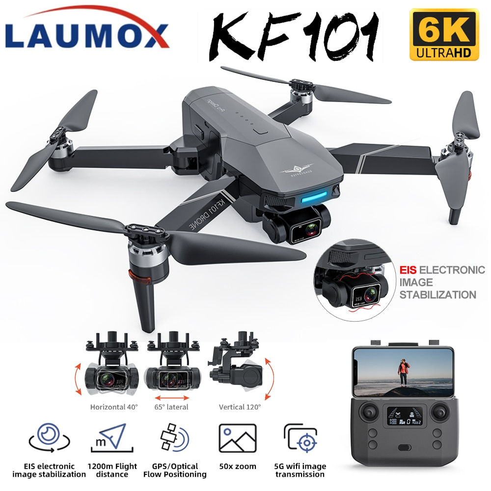 LAUMOX KF101 GPS Drone 4K HD Camera with 3-Axis EIS Anti-Shake Gimbal Profesional Quadcopter Brushle