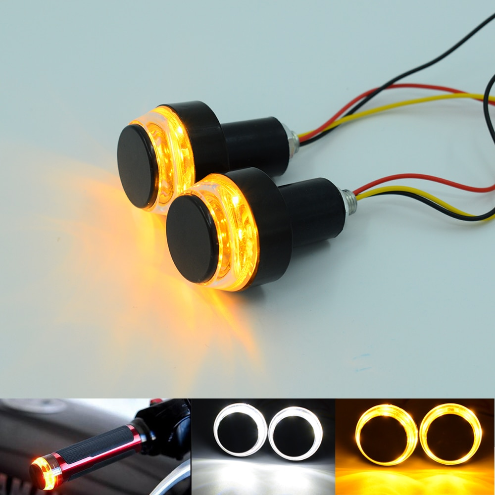 2pcs LED Motorcycle Handlebar End Turn Signal Light Indicators 3W Amber White Flashers 22mm Handlebar Bar End Plug Blinker