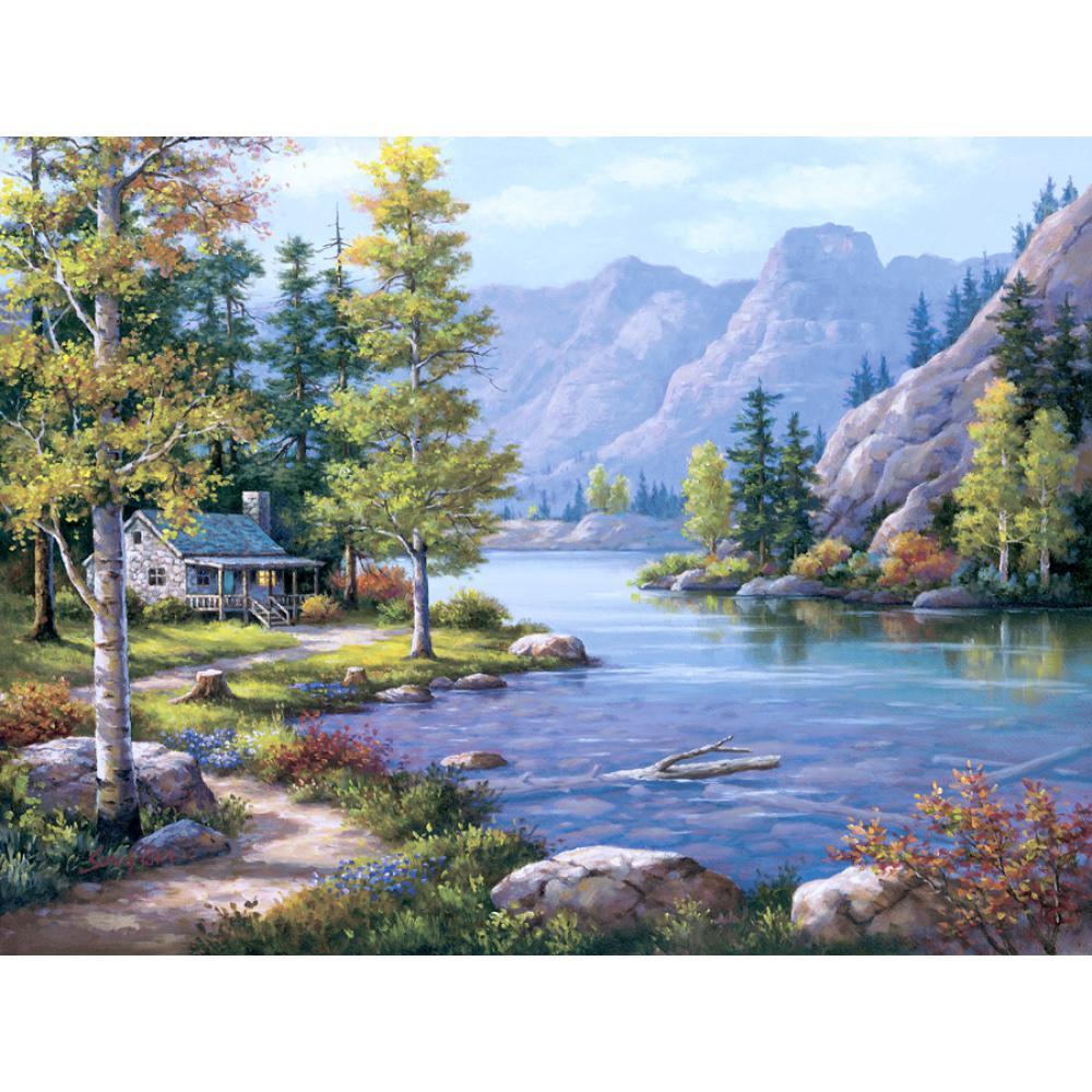 Pintado a mano lienzo arte paisajes pintura al óleo lado del lago Villa junto al río imagen moderna para la decoración de la habitación