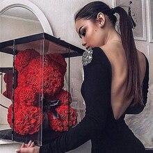Dropshipping 40cm 테디 베어 로즈 인공 꽃 PE 로즈 베어 여성을위한 발렌타인 웨딩 크리스마스 선물 상자 홈 장식