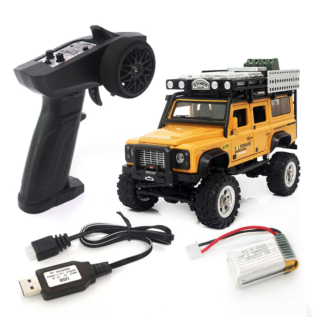 1/28 Scale RC Climbing Car 2.4G 4WD RC Electric Car Mini Alloy Off-road Climbing Car Model Toy with LED Car Lamp - RTR