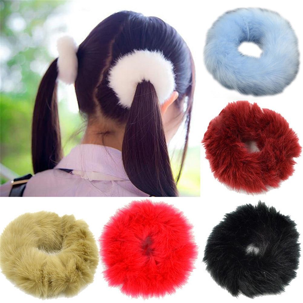 Faux Fur mujeres pelo Scrunchies suave y esponjoso dulce Corea elástico bandas de pelo coleta de pelo de moda para chicas accesorios para el cabello