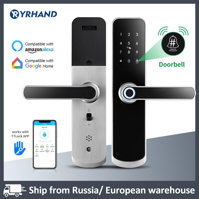 Get X6 Yrhand Electronic Lock Waterproof Biometric Fingerprint Door Locks Bluetooth Digital Keypad Door Lock TTlock App Smart Lock