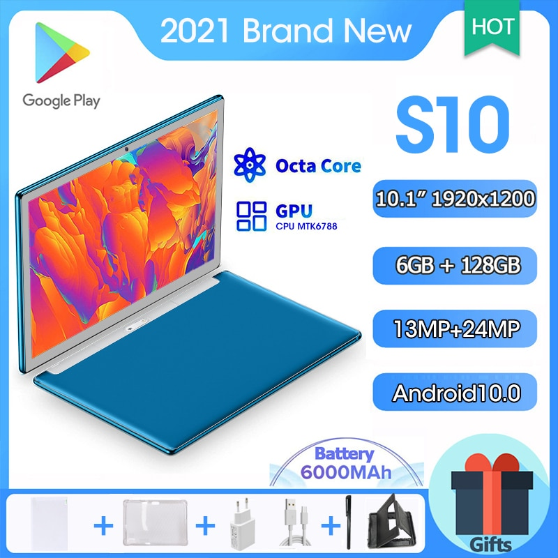 10.1 inch Android 10 Tablet 1920x1200 Octa Core Tablete 6GB RAM 128GB ROM Tablette android Dual Tablets PC Google Play Tableta