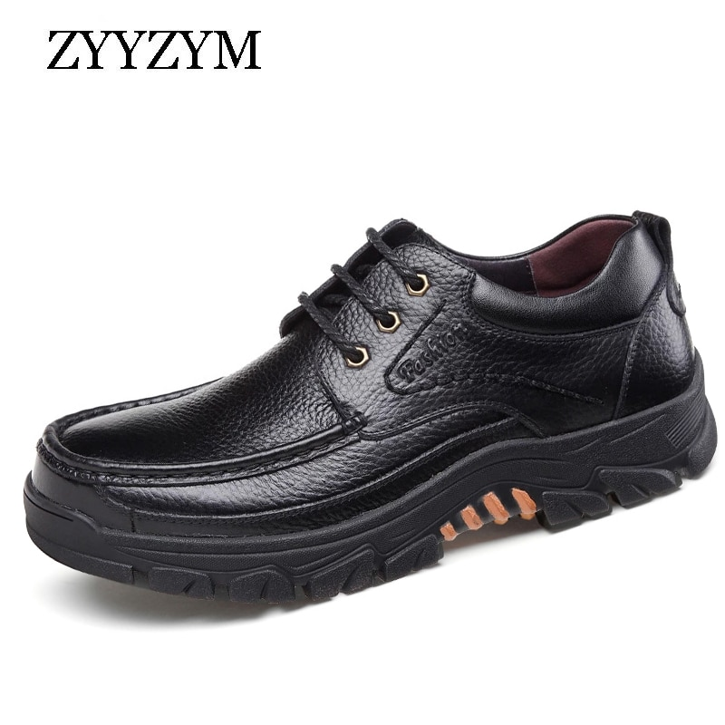 ZYYZYM Men Cow Leather Casual Shoes Autumn Flats Soft Sole Lace Up Walking Business Footwear