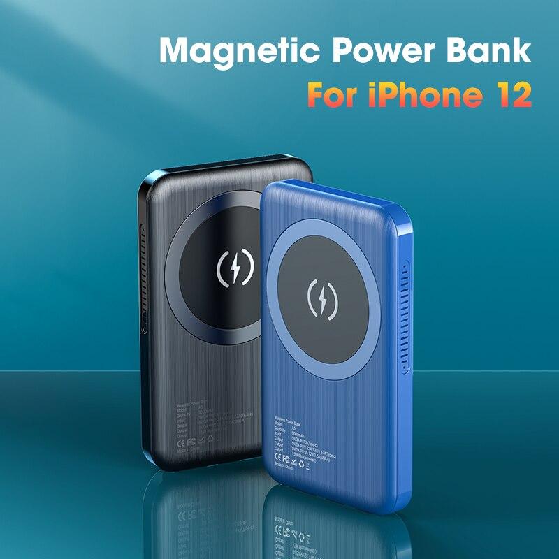 10000mAh بنك الطاقة المغناطيسي آيفون 12 13 ل Airpods المغناطيس شاحن لاسلكي محمول شحن Powerbank بطارية خارجية