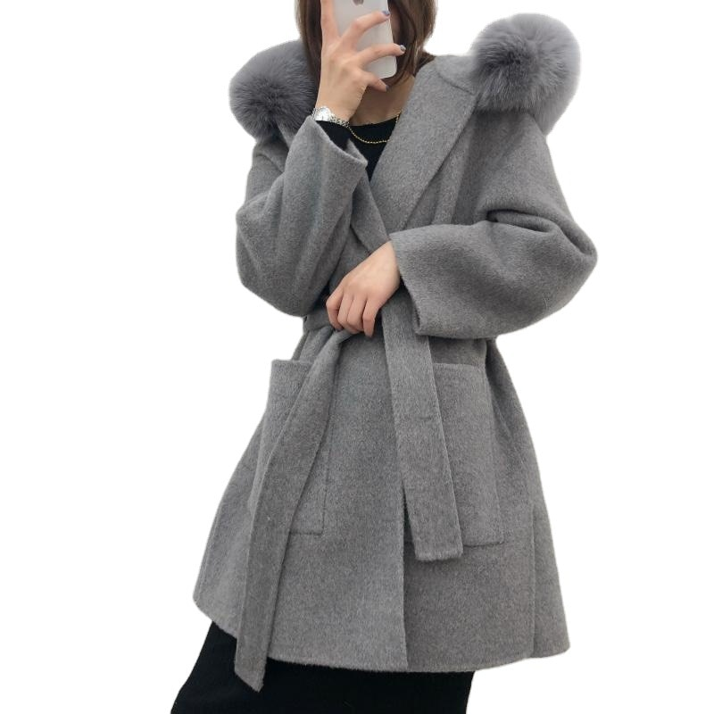 Real Fur Coat Winter Jacket Women Loose Natural Fox Fur Collar Cashmere Wool Blends Outerwear Streetwear Oversize