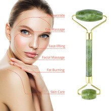 2 en 1 naturel Jade visage masseur rouleau et pierres vertes Massage rouleau thérapie Massage grattoir outil pour visage cou mâchoire