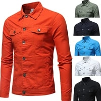 new high quality denim jacket men casual solid color lapel single breasted jeans jacket men autumn slim fit quality mens jackets