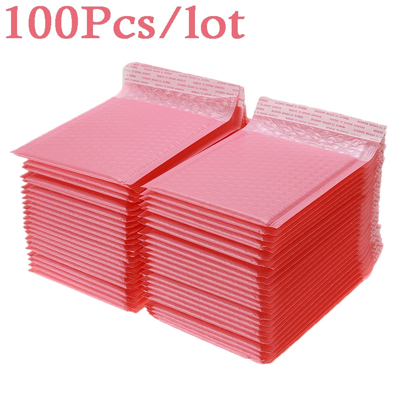 100pcs Bubble Mailers Padded Envelopes Pearl film Gift Present Mail Envelope Bag For Book Magazine Lined Mailer Self Seal Pink