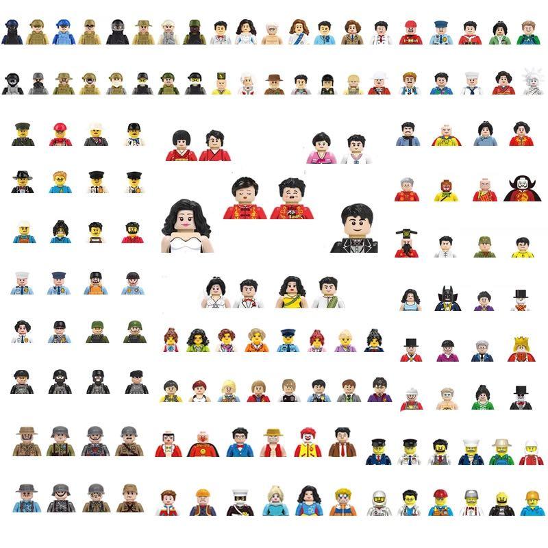 48Pcs/Set 12PCS DIY Building Blocks Dolls Occupational Characters Cartoon Figures Model Bricks Toys