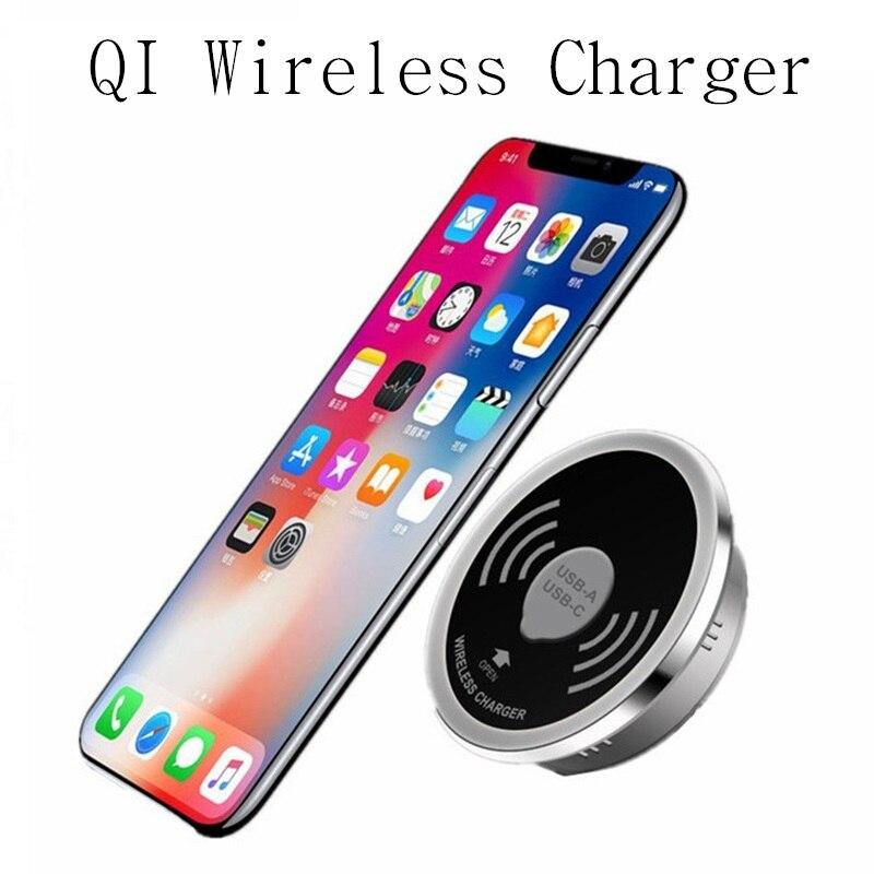 Escritorio 10W carga rápida Qi cargador inalámbrico cargador USB teléfono Pad tipo C 15W cargador rápido 3,0 almohadilla de carga inalámbrica integrada