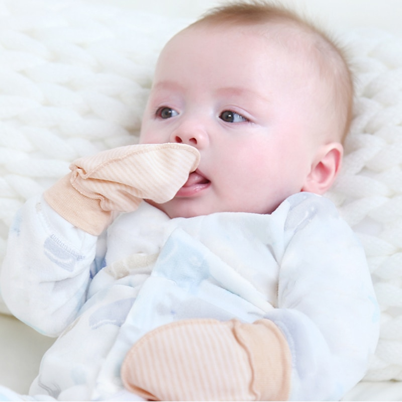 A Pair Fashion Baby Anti Scratch Gloves Newborn Protection Face Newborn Cotton Anti-Scratching Mitte