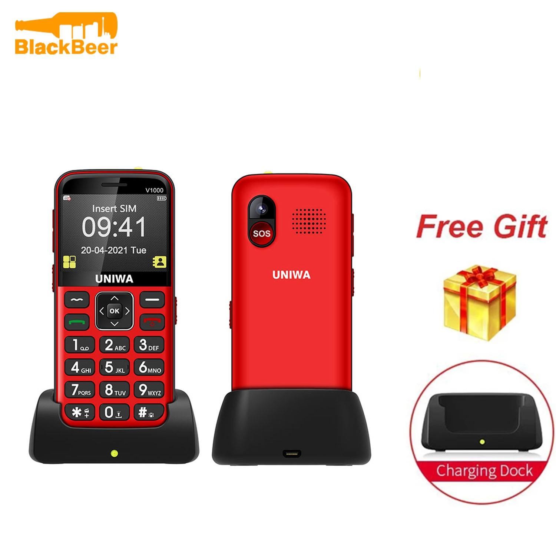 UNIWA V1000 4G Feature Cellphone 2.31 inch Big Button Mobile Phone Flashlight 1700mAh Bluetooth Telephone in Russian Keyboard