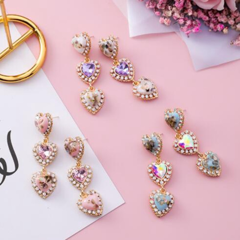 Korea  New Colorful Shell Love Heart Crystal Long Pendientes Mujer Moda Statement Rhinestone Drop Earrings