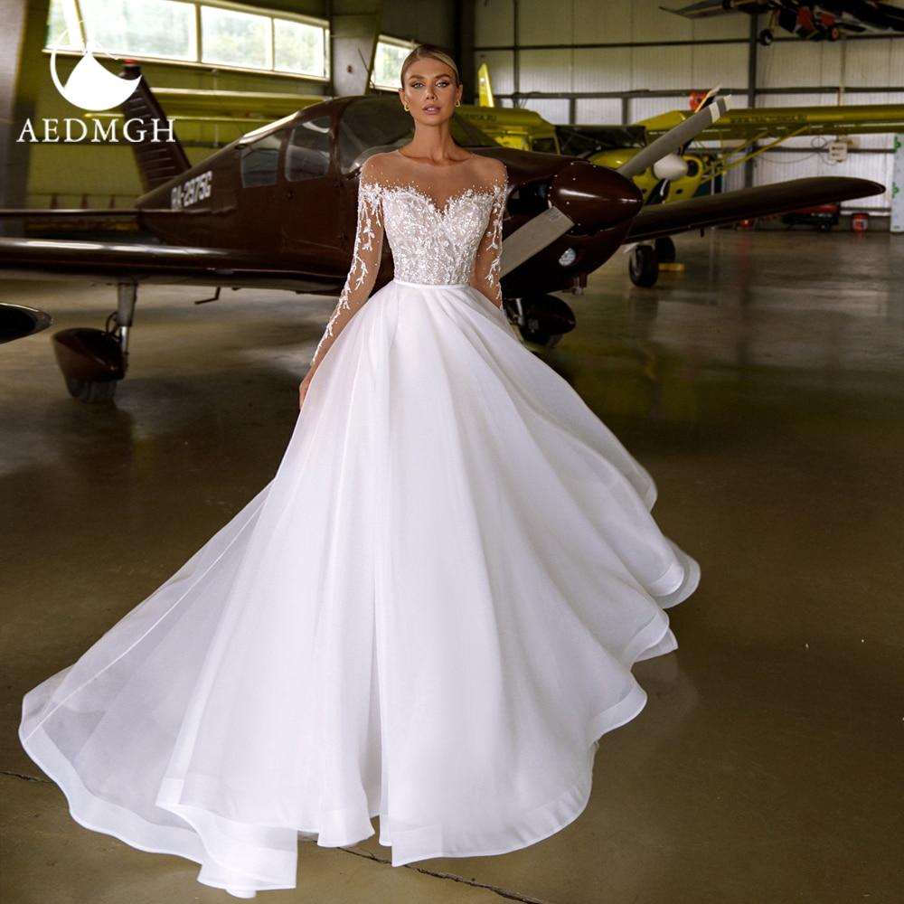 Promo Aedmgh A-Line Beach Wedding Dresses 2021 O-Neck Long Sleeve Vestido De Novia Beaded Appliques Customized Tulle Robe De Mariee
