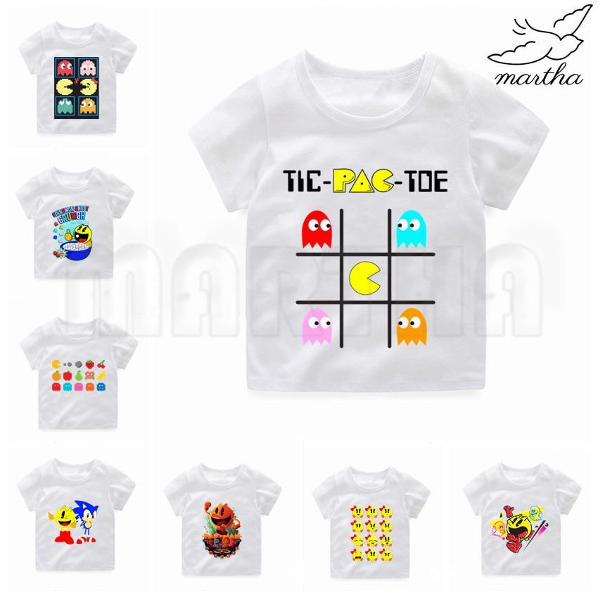 Kids Game Pac-Man Eat Ghost Funny T-shirt Kids Summer O-Neck Tops Children Cartoon Pacman Print Tshirt Baby Clothes