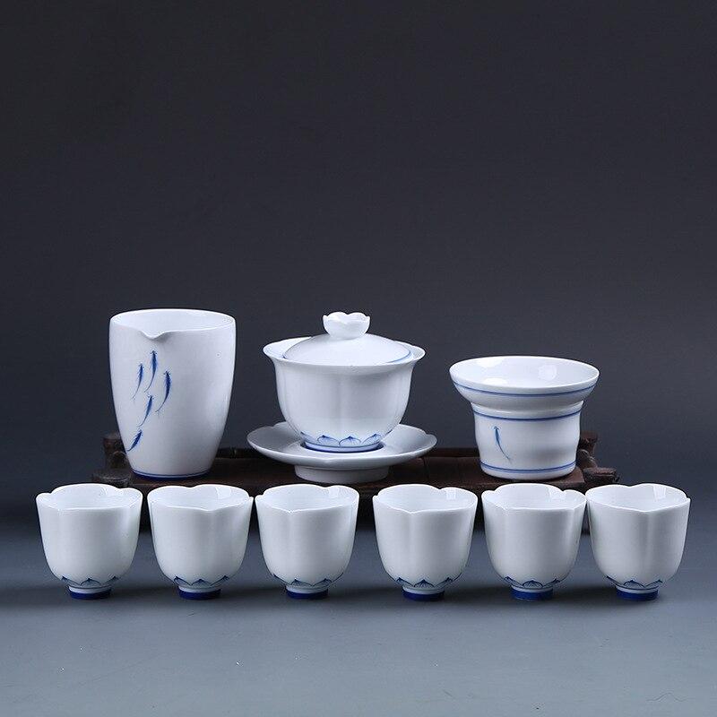 وعاء شاي من البورسلين الأزرق والأبيض مطلي يدويًا ، هدية عمل من السيراميك