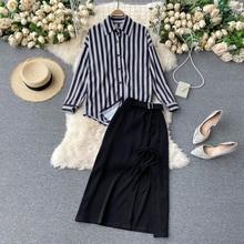 Fashion Suit Vintage Stripe Lapel Long Sleeve Casual Versatile Shirt Top High Waist Slit Skirt Two-P