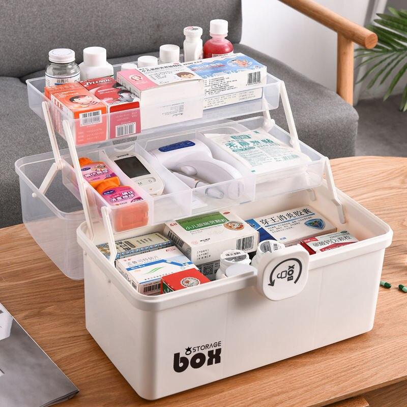 البلاستيك الطبقة الطب صناديق صندوق تخزين سعة كبيرة درج أشتات المنظم للطي الطب الصدر تخزين الإسعافات الأولية