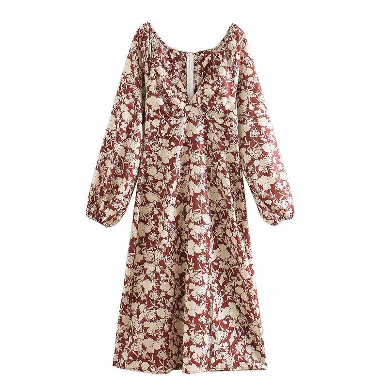 2020 nova primavera summe europeu v-neck manga comprida cintura impressa za vestido feminino sheining vadiming vestido feminino xdn9368