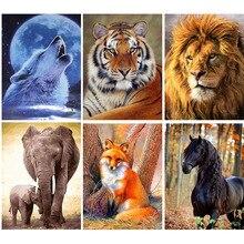 GATYZTORY Tiger Lion Wolf Elefanten Pferd DIY Malerei Durch Zahlen Handgemalte Öl Malerei Töten Zeit Home Decor Zubehör
