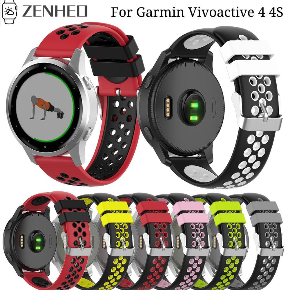22mm 18mm Sport Silicone Wrist Strap For Garmin Vivoactive 4 Smart Watch Band For Vivoactive 4S Replacement Bracelet Straps