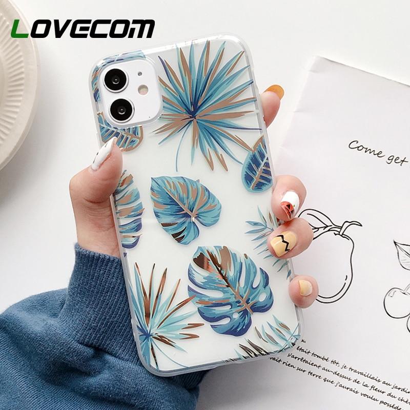 LOVECOM Retro plateado flor Banana hoja funda de teléfono para iPhone 11 Pro Max XR X XS Max 7 8 Plus claro funda suave IMD cubierta de teléfono