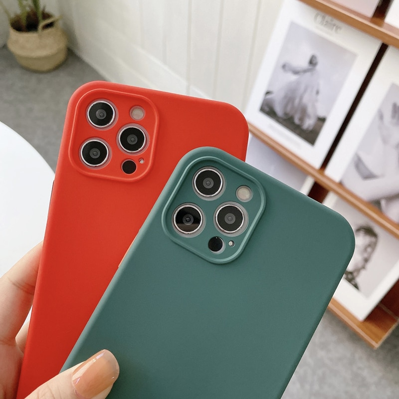 Color contrast Liquid Silicon Case For iPhone 11 Pro Max 12 11Pro X XS XR 6 7 8 Plus 5 5S SE Soft Hy