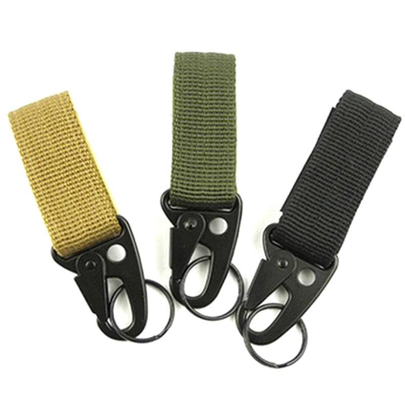outdoor camping military tactical nylon belt metal hanging carabiner backpack hook clasp survival gear keychain outdoor tools Tactical Carabiner Buckle Outdoor Molle Webbing Belt Clip backpack hook Military Nylon Keychain survival tool camping equipment