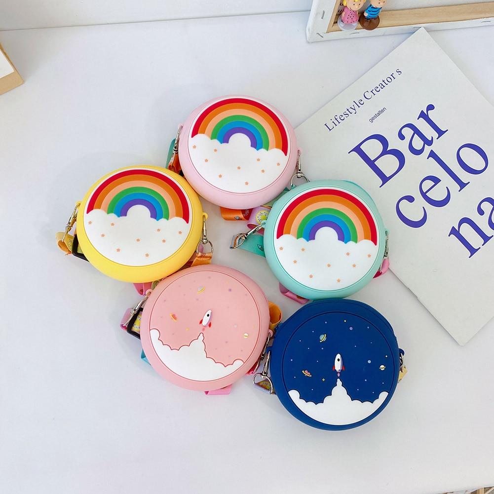 Silicone Toddler Girl Round Shoulder Bags Children Rainbow Starry Sky Printing Handbags Cartoon Crossbody Bags